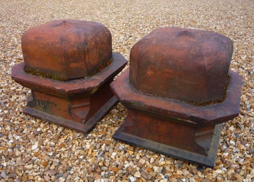 Large Pair of Antique Terracotta Gate Pier Cappings