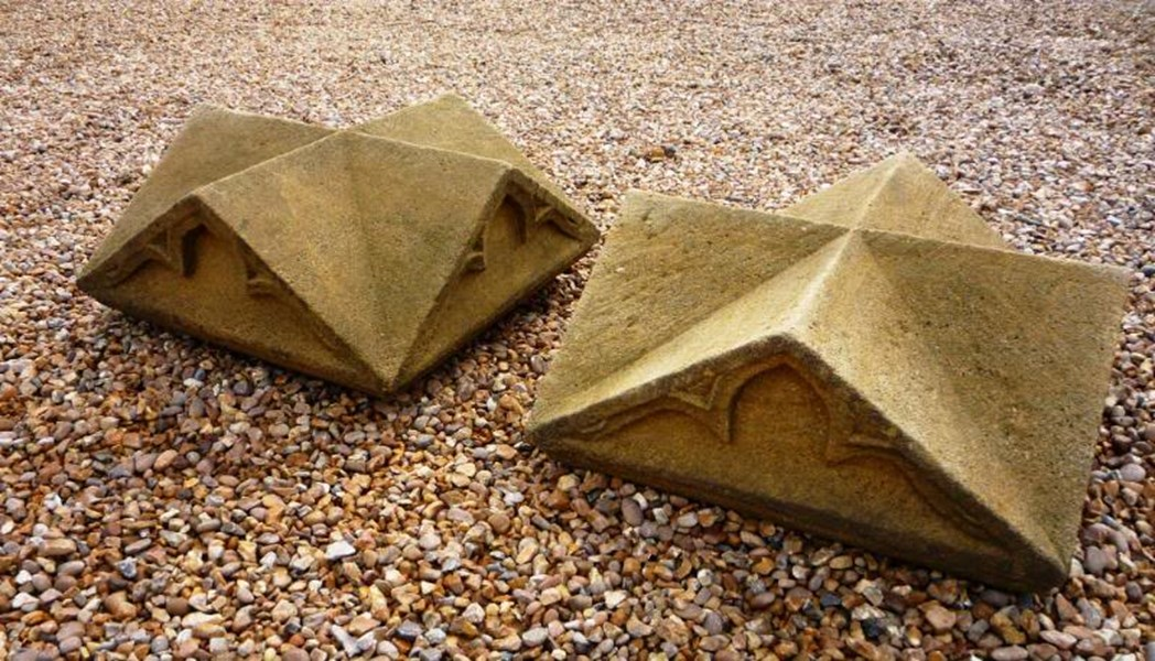 Large Pair of Antique Gothic Stone Gate Pier Cappings