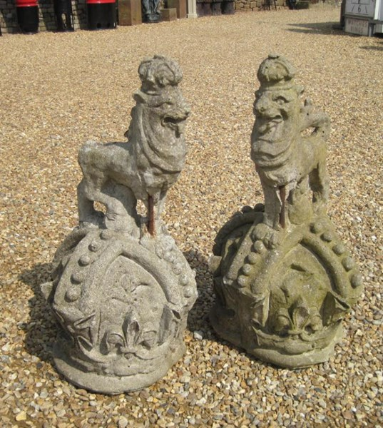 Pair of Victorian Antique Armourial Lion Gate Finials