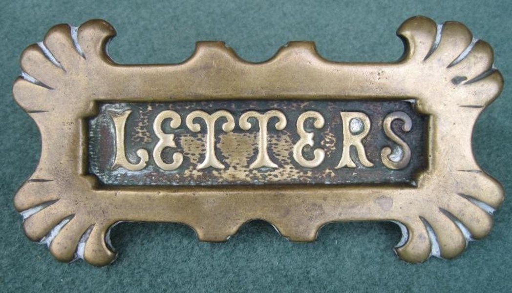 Antique Reclaimed Solid Brass Letter Plate Without Clapper