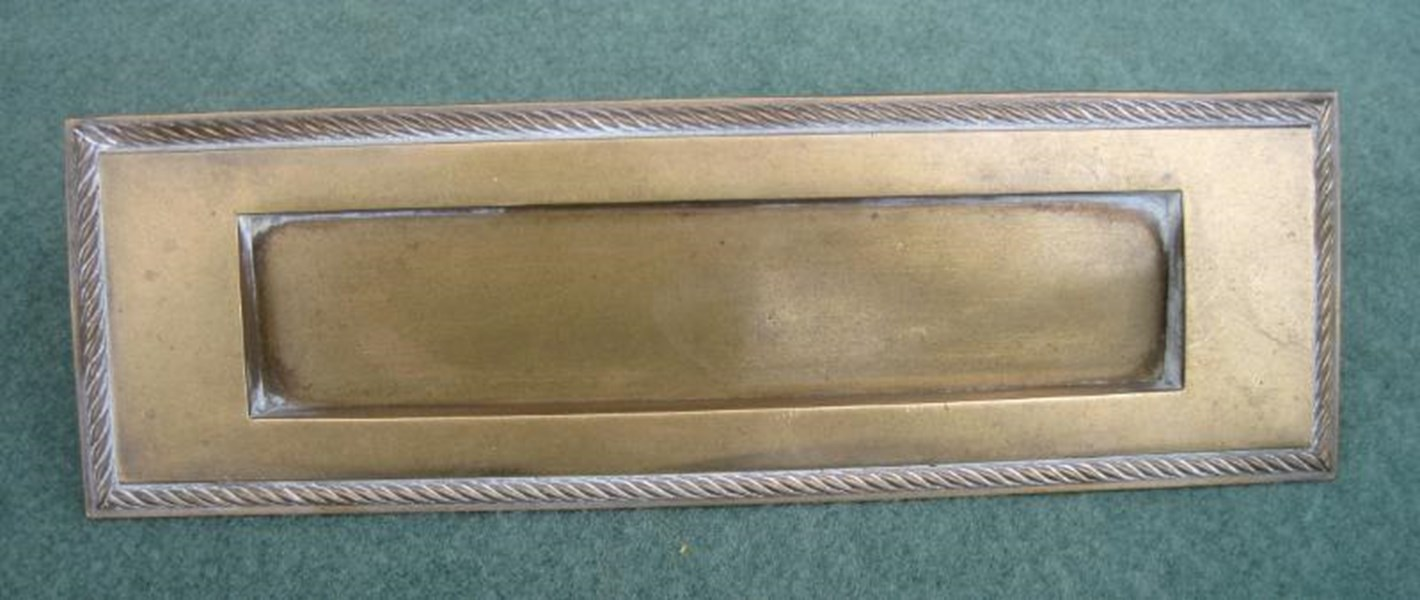 Antique Salvaged Solid Brass Letter Plate Without Clapper