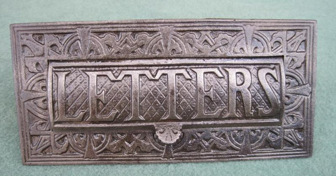 Antique Salvaged Solid Iron Letter Plate Without Clapper
