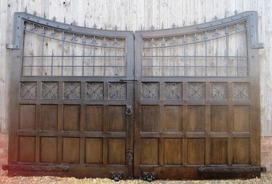 Pair of Oak and Cast Iron Gates from Ashton Hall Lancaster