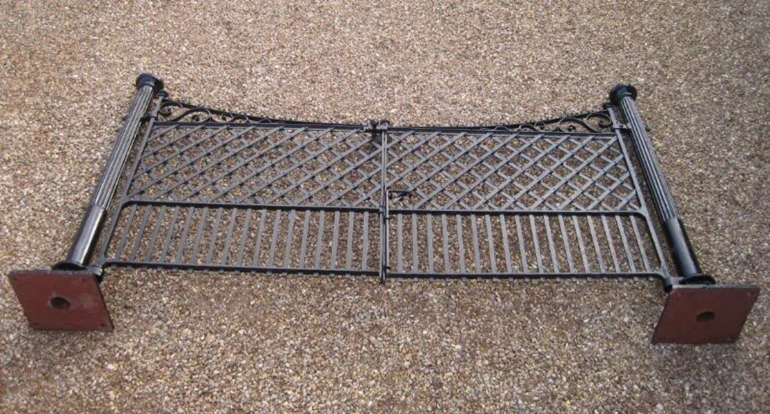 Pair of Antique Cast and Wrought Iron Gates with Posts