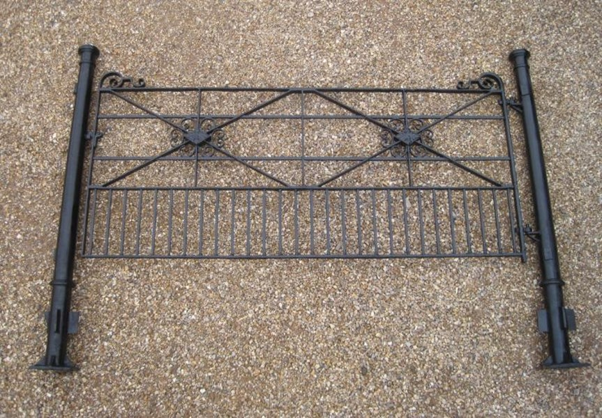 Antique Salvaged Estate Gate and Cast Iron Posts