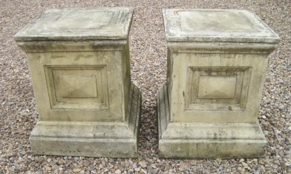 Pair of Stone Garden Plinths