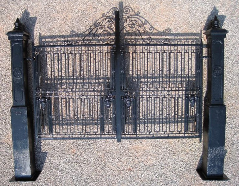 Pair of Antique Cast Iron Gates and Posts