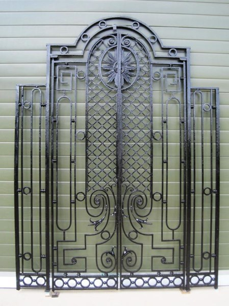 Pair of Antique Cast and Wrought Iron Gates in a Frame