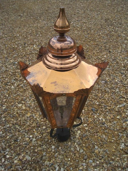 Large Copper Hexagonal Antique Garden Outdoor Lantern