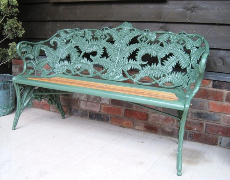 Coalbrookdale Fern and Blackberry Pattern Garden Bench<br>The bench has been painted in Farrow and Ball Minster green paint
