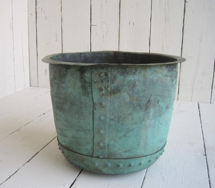 Victorian Antique Copper Garden Plant Pot