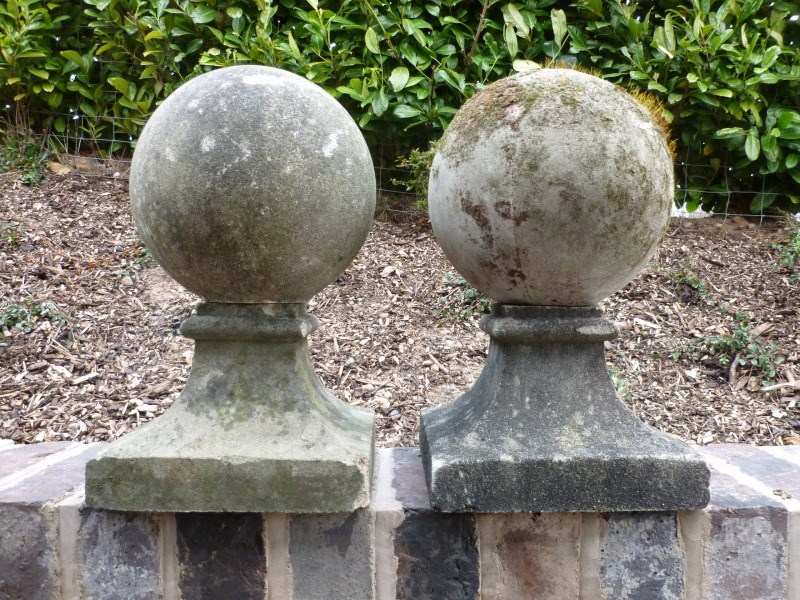 Pair of Vintage Stone Gate Pier Finials