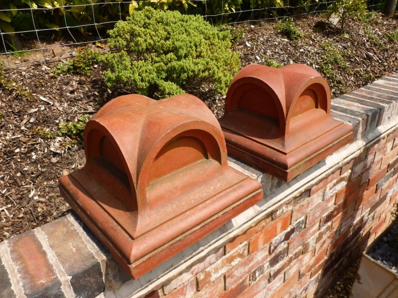Pair of Antique Terracotta Gate Pier Cappings