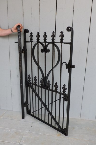Antique Victorian Wrought Iron Pedestrian Gate and Post