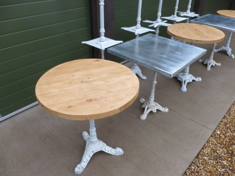 Restaurant Tables made with pine tops and Zinc tops