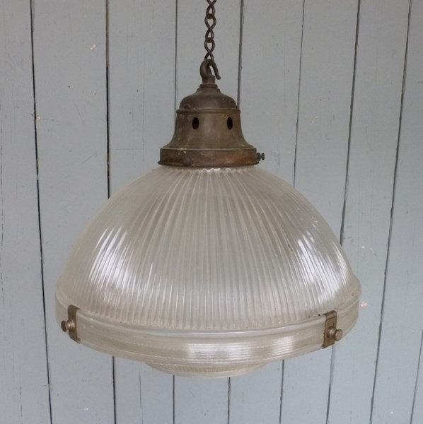 Antique Glass Globe Light Fitting -  Holophane light fitting