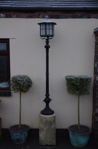 Antique Victorian Outside Lantern Post and Stone Base