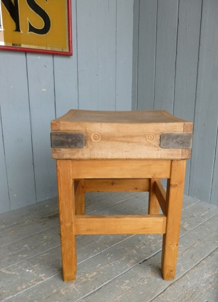 Antique Butchers Chopping Block On Original Base