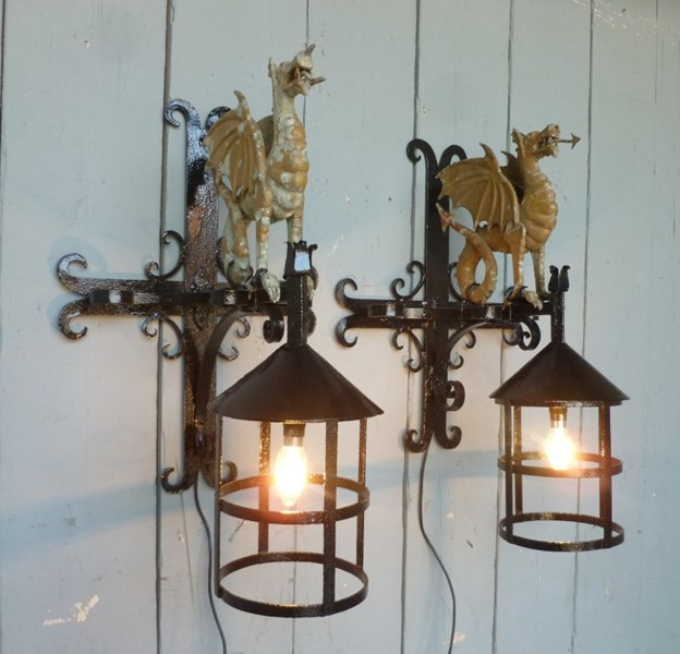 Wrought Iron Welsh Dragon Lights