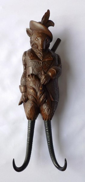 Black Forest Carved Fruitwood and Horn Musical Coat Hook