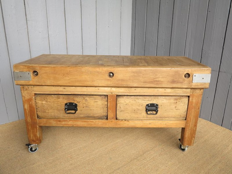 Antique Butchers Chopping Block with 2 Drawers on original base