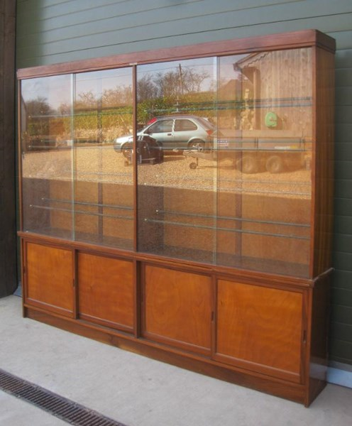 Antique Shoe Shop Display Wall Cabinet