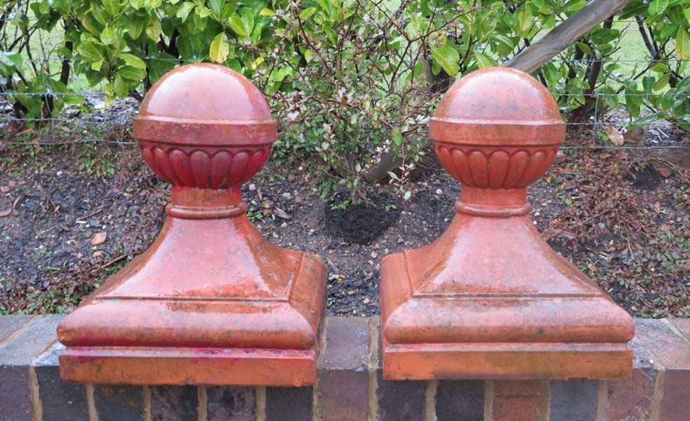 Primary Image - Pair of Original Edwardian Terracotta Ball Finials