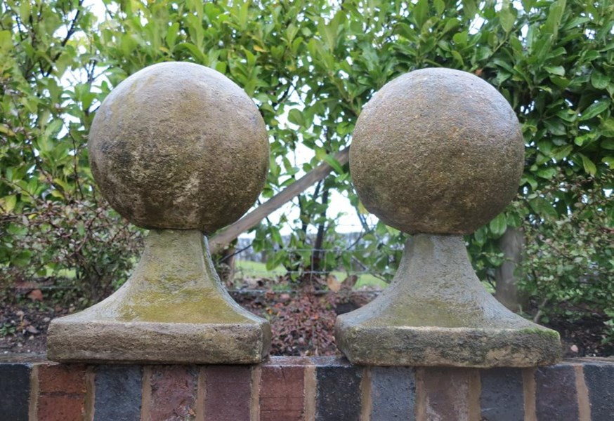 Primary Image - Pair of Reconstituted Stone Ball Finial Cappings
