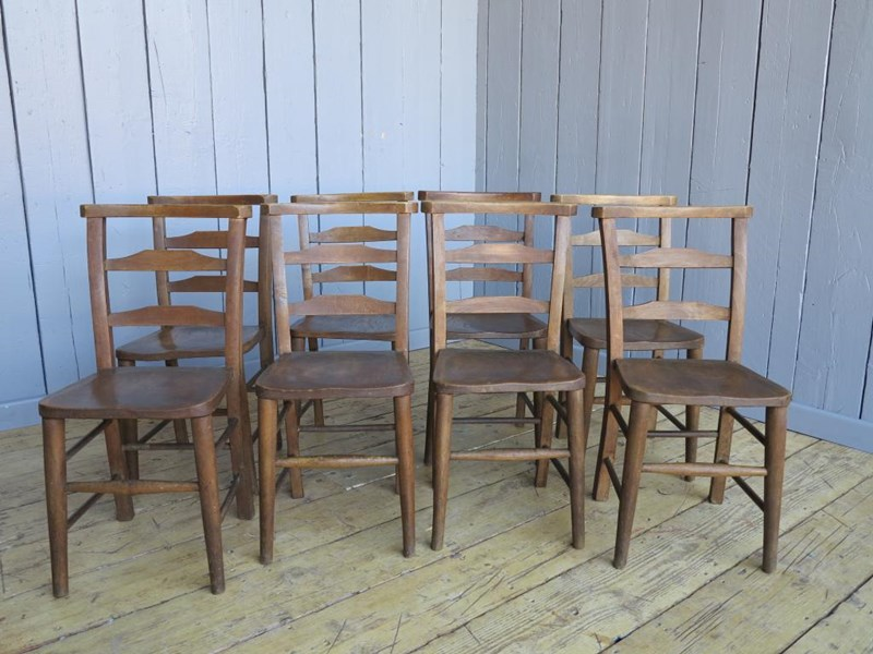 Primary Image - Set of 8 Antique Church Chairs