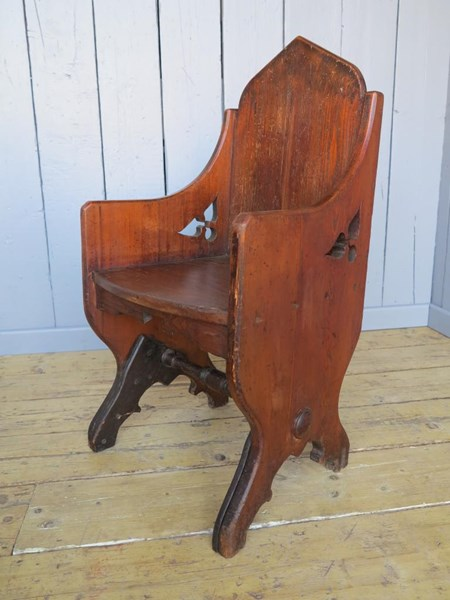 Primary Image - Antique Pine Gothic Tub Chair