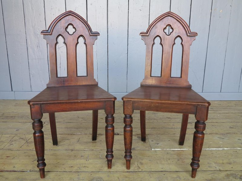 Primary Image - Pair of Mahogany Gothic Hall Chairs