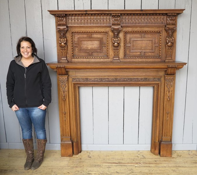 Primary Image - Hand Carved Victorian Oak Fire Surround