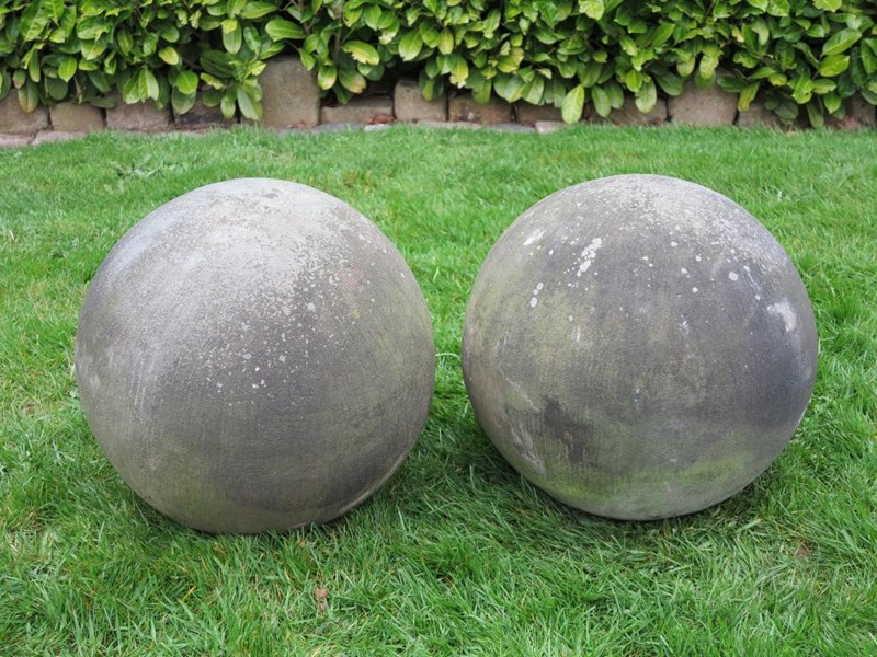 Primary Image - Pair of Antique Hand Carved Stone Balls