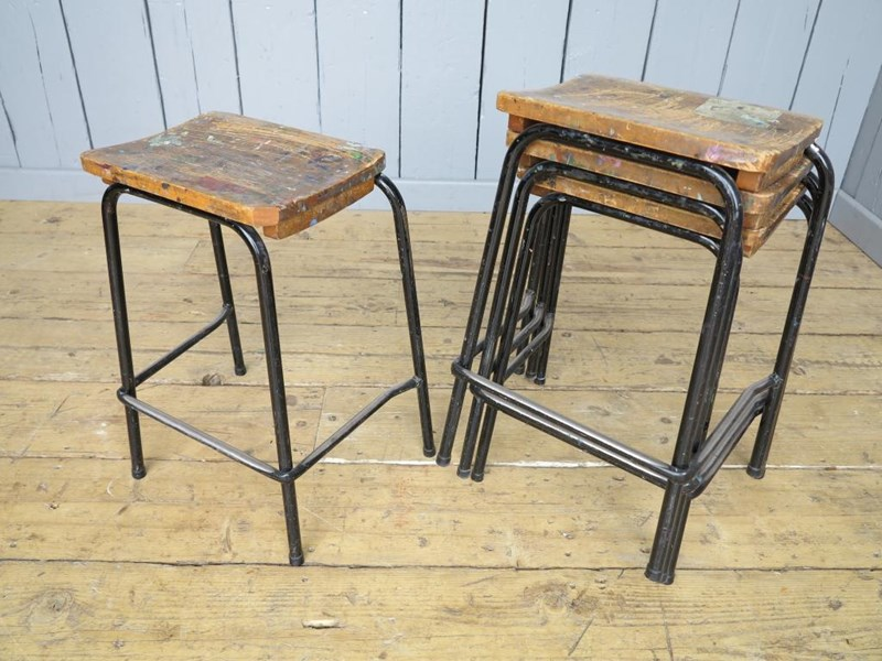 Primary Image - Industrial Steel Tubular Stacking Stools - Art School