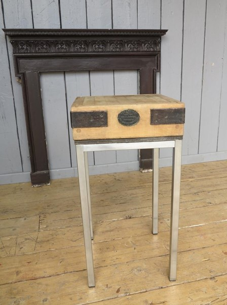 Primary Image - Antique Butchers Chopping Block On Stainless Steel Base