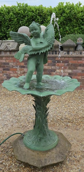 Primary Image - Vintage Bronze Fountain with Cherub and Fish on Stone Base