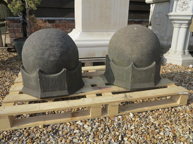 Primary Image - Pair of Hand Carved Arts & Crafts Gate Pier Finials
