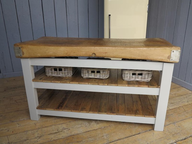 Primary Image - Antique Butchers Block With 2 Reclaimed Floorboard Shelves