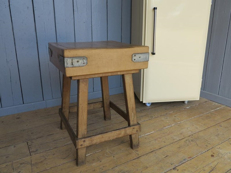 Primary Image - Antique Butchers Block on Original Base