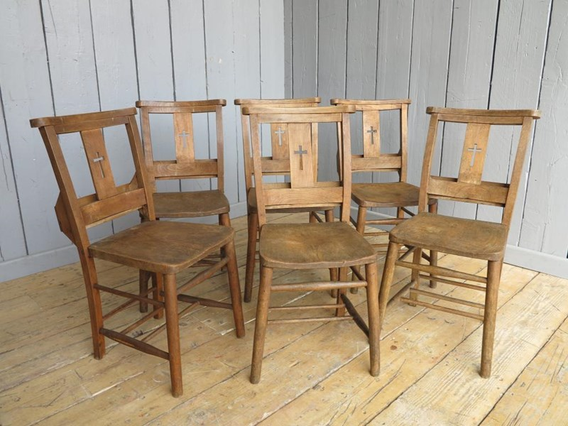 Primary Image - Set of 6 Antique Church Chairs