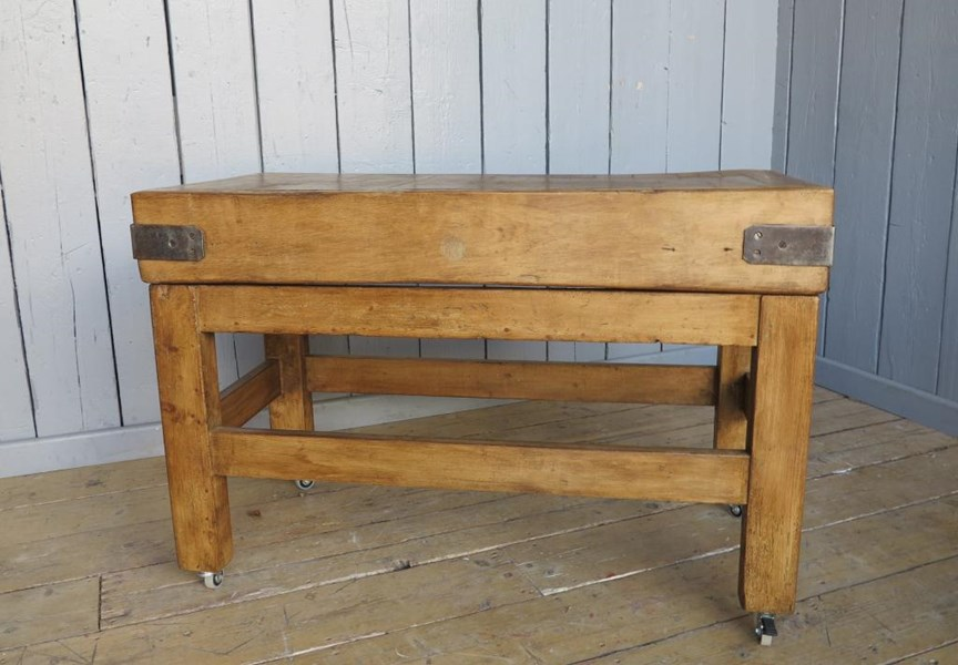 Primary Image - Antique Waxed Butchers Block on Original Base