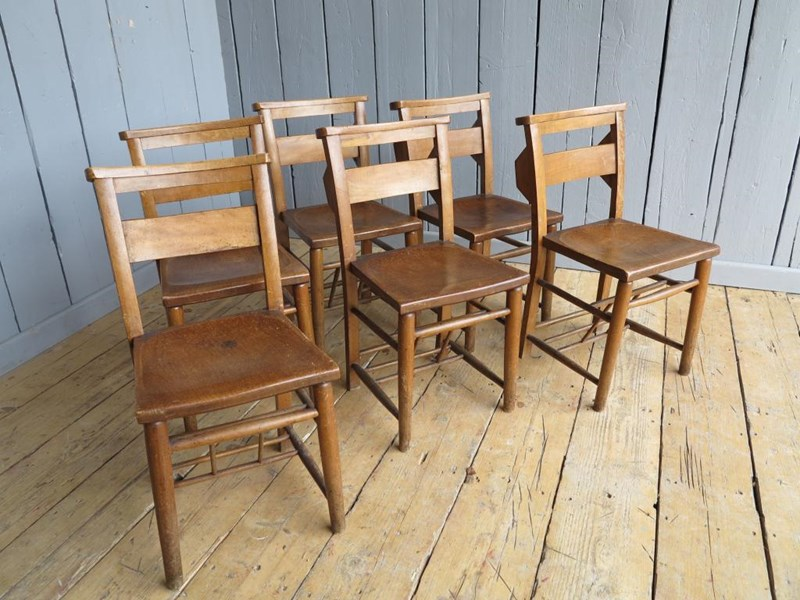 Primary Image - Set of 6 Reclaimed Church Chairs