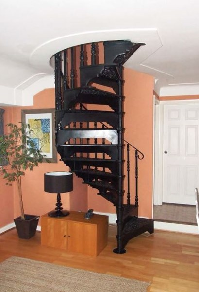 Primary Image - Cast Metal Spiral Staircase with Balcony Railings