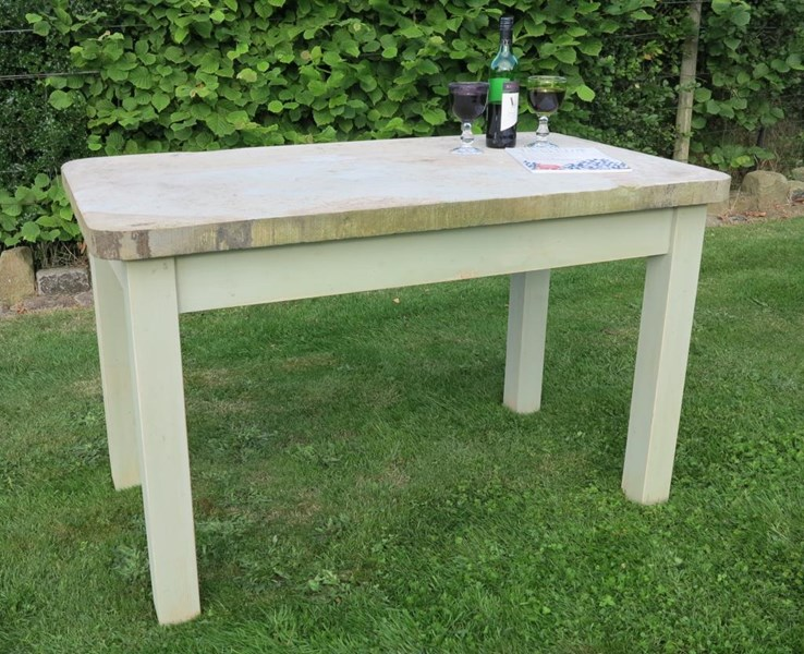 Primary Image - Antique Reclaimed Stone Top Table with a Pine Distressed Base
