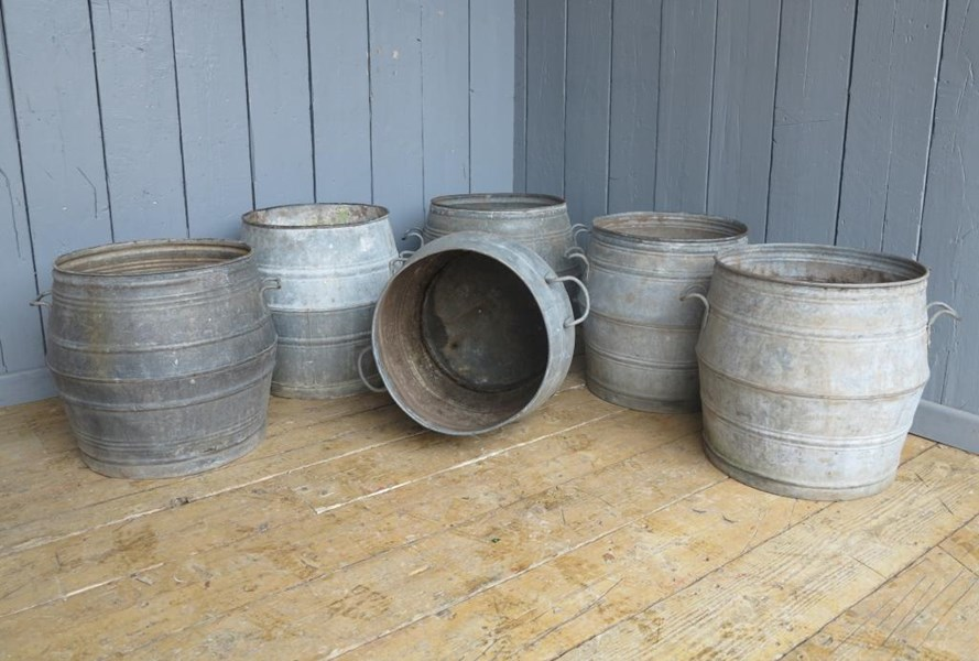 Primary Image - Vintage Galvanised Garden Planters With Handles