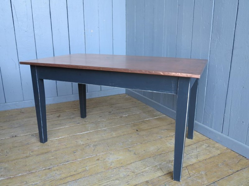 Primary Image - Copper Topped Table With Distressed Base