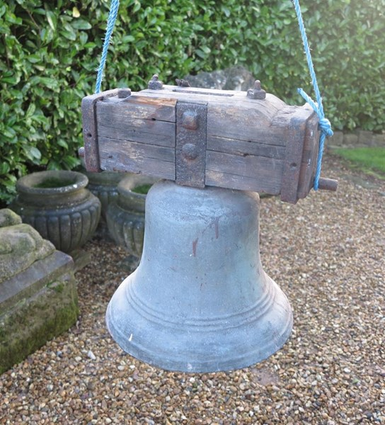 Primary Image - Antique Bronze Bell On Wooden Frame
