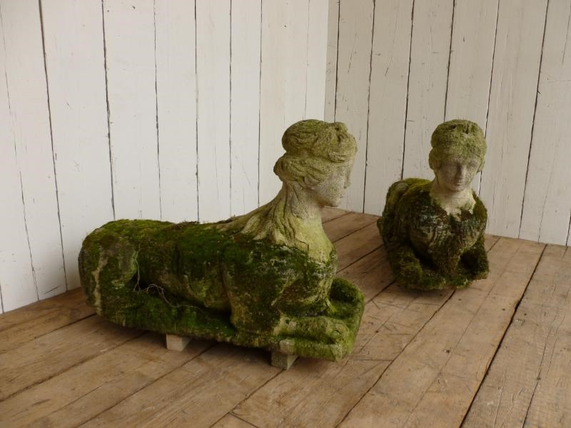 Pair of Antique Hand Carved Bath Stone Sphinx