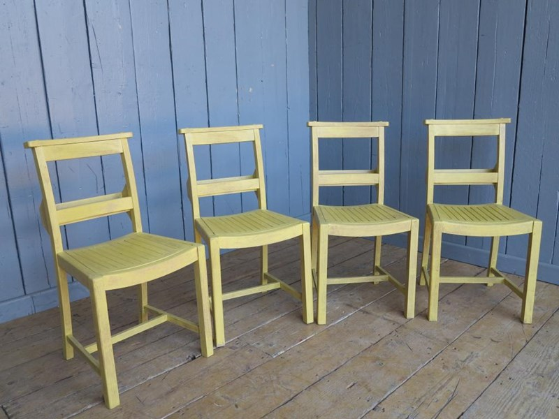 Primary Image - Set of 4 Hand Painted & Distressed Church Chairs