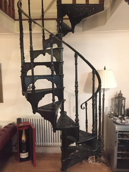 Primary Image - Cast Iron Black Spiral Staircase With Landing